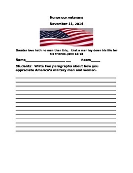 WRITING ACTIVITY FOR VETERANS DAY