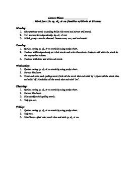WTW Sort 19 Lesson Plan