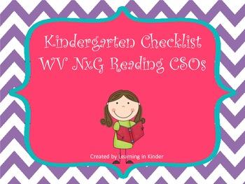 WV NxG CSO aligned Reading Kindergarten Checklist