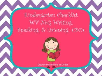 WV NxG CSO aligned Writing, Speaking and Listening Kinderg