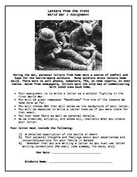 WWI Letters from the Trenches Assignment