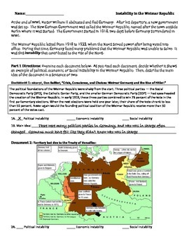 WWI - WWII - Instability in the Weimar Republic - Rise of