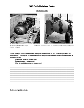 WWII Worksheets - Pacific Theater