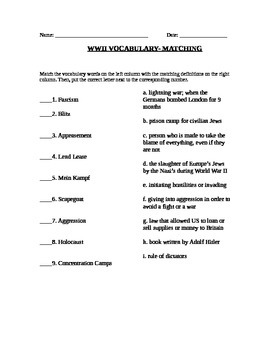 WWII: World War Two  vocabulary (matching)