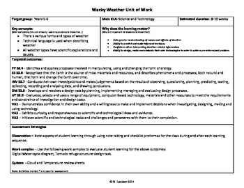 Wacky Weather - Science Unit outline