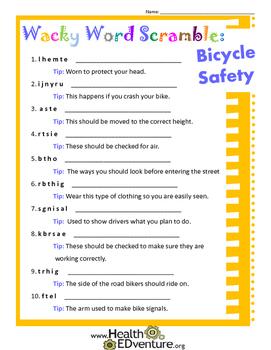 Wacky Word Scramble: Bicycle Safety