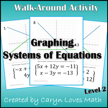 Walk Around Activity - LEVEL 2- Solving Systems of Equatio