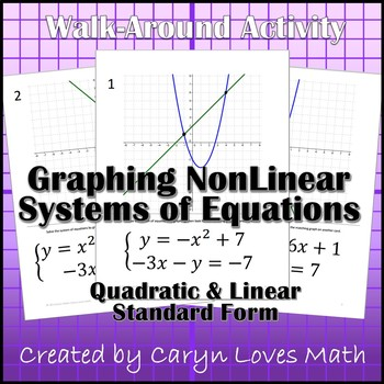 Graphing Nonlinear Systems of Equations~Linear~Quadratic