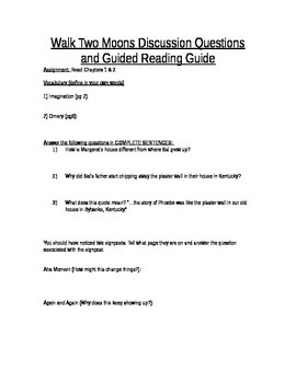 Walk Two Moons Guided Reading Questions and Discussion Guide