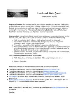 Walk Two Moons Landmark Web Quest