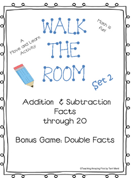 Walk the Room Math Fact Fluency Game Addition & Subtractio