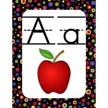 Wall Alphabet Cards (Primary Dots on Black) (Lined Manuscr