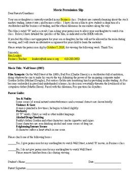Wall Street - Movie Permission Slip