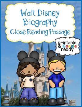 Walt Disney Biography Close Reading Passage