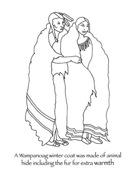 Wampanoag clothing Thanksgiving coloring page