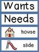 Wants and Needs Emergent Reader & Pocket Chart Cards Kinde