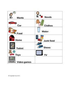 Wants and Needs Sort for special education students