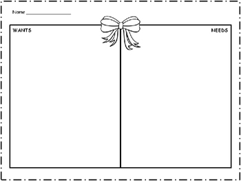 Wants and Needs Winter Theme 10 Graphic Organizers