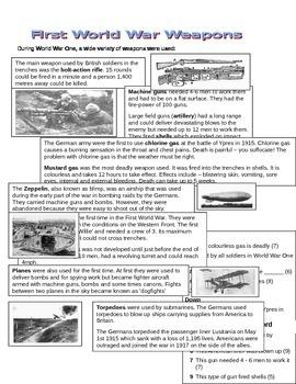 War Horse - Weapons Crossword & Informational Text