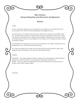 War Letters: Drama Letter Assignment