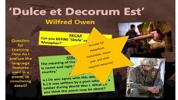 War Poetry - Dulce et Decorum est - Wilfred Owen