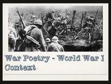 War Poetry - World War 1 and Dulce et Decorum Est (Editable)