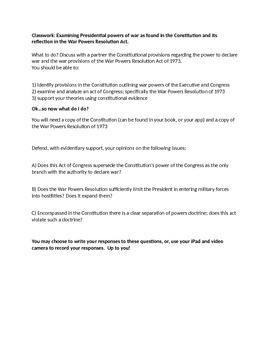 War Powers Resolution of 1973 Assignment