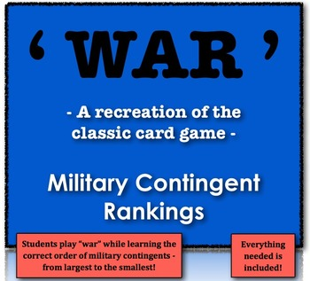 """War"" - Recreating the Classic Game to Rank Military Conti"