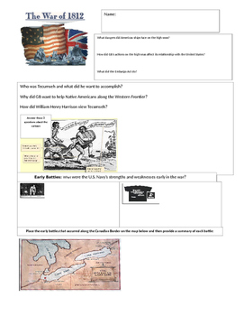 War of 1812 Graphic Organizer