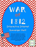War of 1812 Interactive Internet Scavenger Hunt Webquest Activity