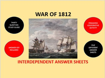 War of 1812: Interdependent Answer Sheets Activity