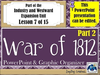 War of 1812 (Part 2) PowerPoint and Graphic Organizer