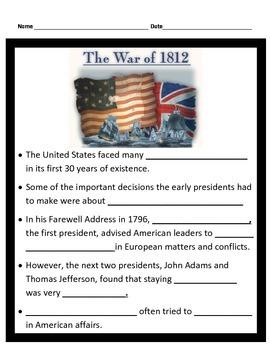 War Of 1812 Worksheet. Worksheets. Reviewrevitol Free printable ...