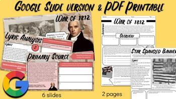War of 1812 & Star Spangled Banner Handout