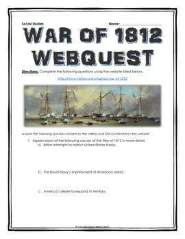 War of 1812 - Webquest with Key