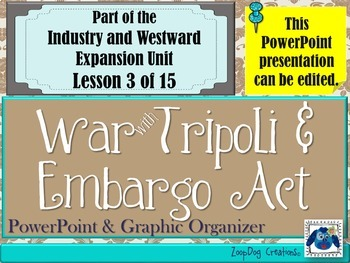 Embargo Act - War with Tripoli PowerPoint and Graphic Organizer