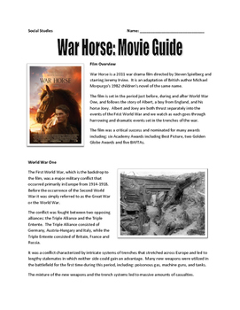 War Horse - Movie Guide, Map Assignment, Letter and Newspa