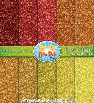 Warm Colors Sparkle Glitter Digital Scrapbook Pack (10 Pages)
