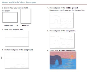 Warm & Cool Color Seascapes Instruction Sheet