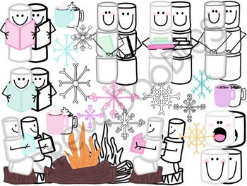 Warm Up With a Good Book Digital Clip Art Set- Color and B