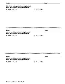 Warm-Up/Exit Slip for Adding and Subtracting Decimals