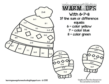 Warm-Ups with 6-7-8  Coloring Code Math Worksheet- Additio