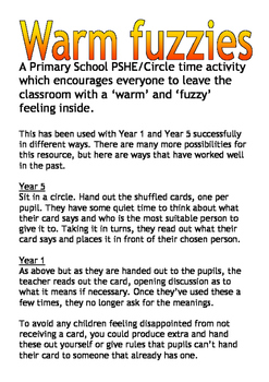 Warm fuzzies Circle time activity