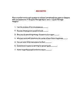 Warm up Questionnaire: MacBeth