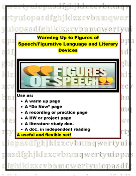 Figurative Language and Literary Devices Warm-up or Do Now
