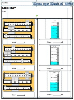Warm ups measuring graduated cylinders and triple beam balances