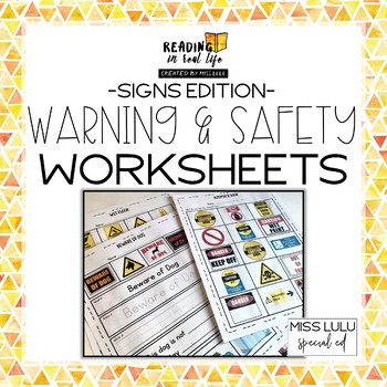 Warning & Safety Signs Worksheets