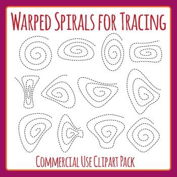 Warped Spirals Tracing or cutting (Fine Motor Control) Cli