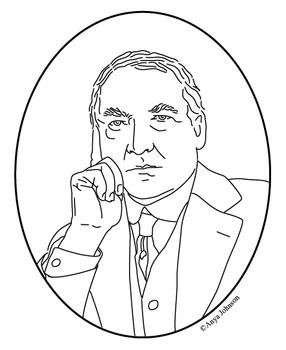 Warren G. Harding (29th President) Clip Art, Coloring Page