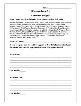 Warriors Don't Cry - Character Analysis Activity - Melba P